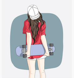 women standing skateboarding in the summer vector image