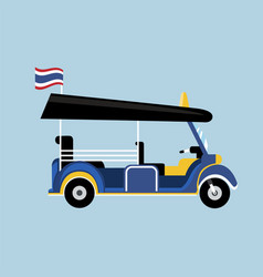 flat tuk tuk in thailand with thai flag vector image vector image