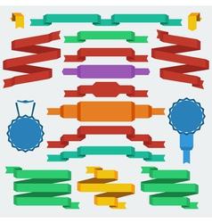 flat design ribbons set vector image vector image