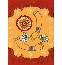 India woman hands and lotus background vector image