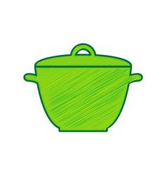 saucepan simple sign lemon scribble icon vector image vector image