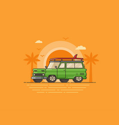 travel surfing car on summer beach vector image vector image