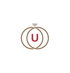 u letter ring diamond logo vector image vector image