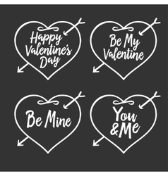 Valentine day typography badges set All lovers vector image vector image
