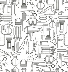 Barber tools seamless pattern vector image