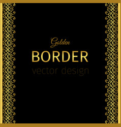 golden vertical border with curls vector image vector image