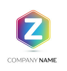 letter z logo symbol in the colorful hexagonal on vector image vector image