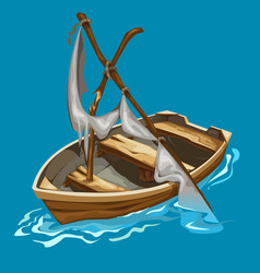 old rowing boat with dilapidated sailboat on water vector image