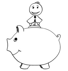 smiling businessman inserting coin in to piggy vector image