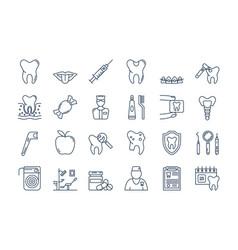 07 outline dental care icons set vector image