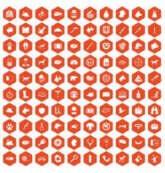 100 dog icons hexagon orange vector