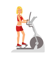blond woman working out using elliptical trainer vector image vector image