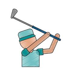 color pencil cartoon faceless half body golfer man vector image