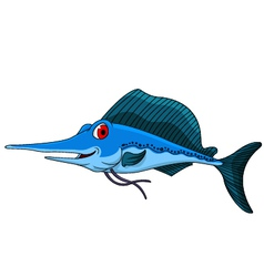 cute blue marlin cartoon vector image vector image