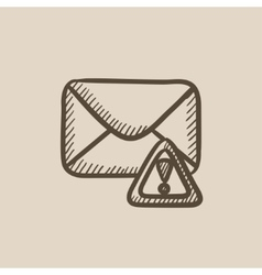 Envelope mail with warning signal sketch icon vector image vector image