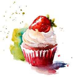 Hand painted watercolor strawberry muffin vector image