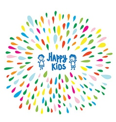 Happy kids logo or card for preschool or vector image