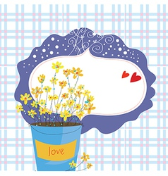 Valentine card with flowers and frame vector image