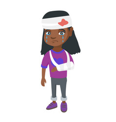 African girl with broken arm and bandaged head vector