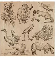 Animals around the world - an hand drawn pack vector