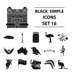 australia set icons in black style big collection vector image vector image