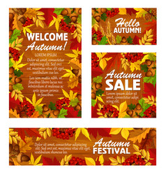 Autumn sale banner and fall festival poster design vector