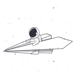 Baby astronaut flies on a paper airplane vector