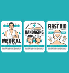 Bandaging and injury bandages first aid posters vector