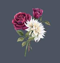 beautiful watercolor floral bouquet vector image