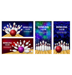 Bowling kegling banner concept set realistic vector