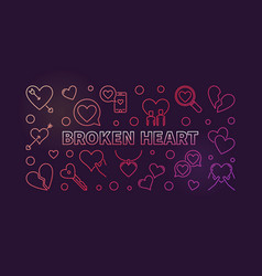 broken heart concept colored outline vector image