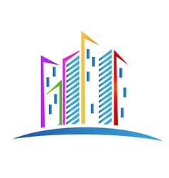 Buildings colorful Real estate logo vector