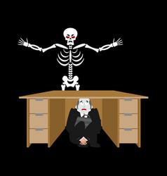 Businessman scared under table of skeleton vector