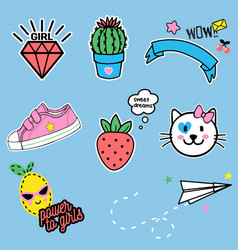 Cartoon fashion cute cartoon patches for girl vector