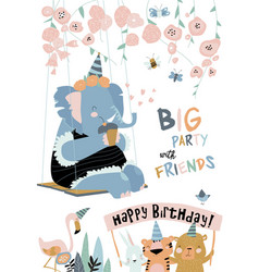 cartoon holiday card with funny elephant happy vector image