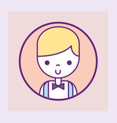 Casino croupier male character portrait cartoon vector