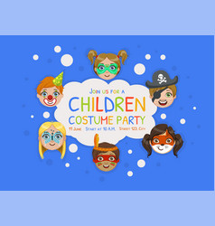 children costume party banner template kids party vector image