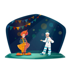 Clown and mime artist on circus stage vector