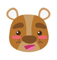 Colorful happy bear head wild animal vector