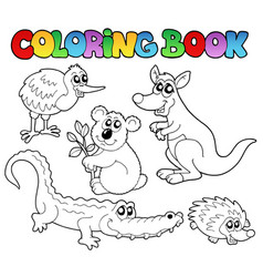 Coloring book australian animals 1 vector