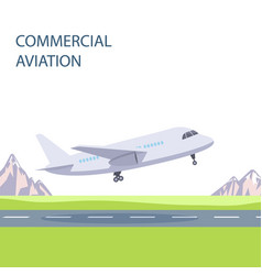 commercial aviation plane takes off vector image