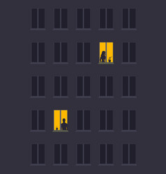Concept loneliness woman and man vector