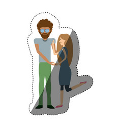 Couple romantic relationship shadow vector