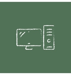 CPU and monitor icon drawn in chalk vector image