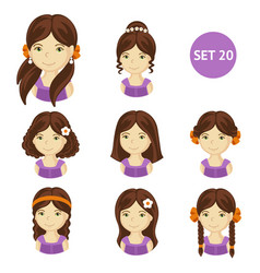 Cute brunet little girls with various hair style vector