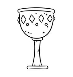 Cute cartoon treasure chalice doodle image goblet vector