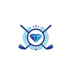diamond golf logo icon design vector image