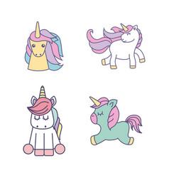 drawing cute set unicorns icon vector image