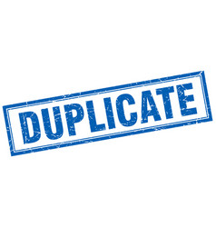 Duplicate blue grunge square stamp on white vector