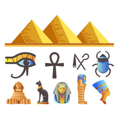 egyptian pyramids and pharaohs egypt symbols and vector image